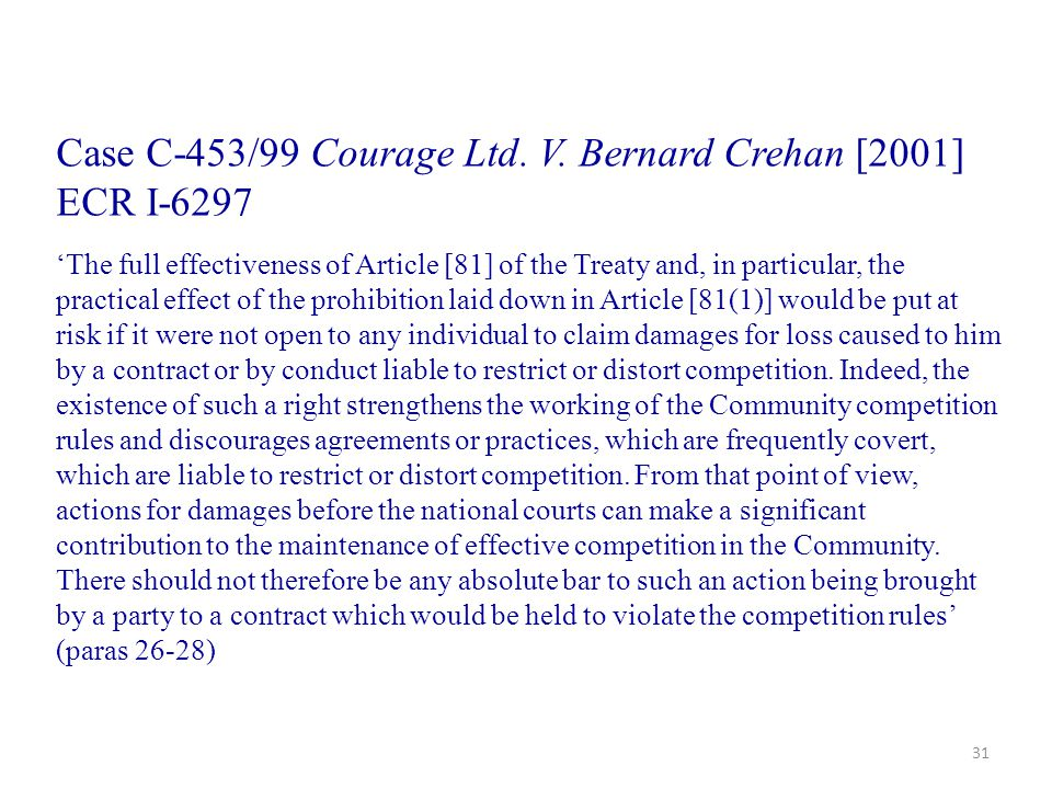 Case C-453/99 Courage Ltd. V. Bernard Crehan [2001] ECR I-6297